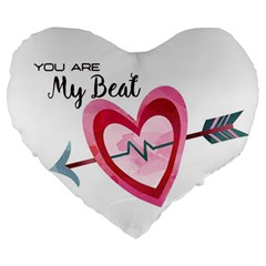 You Are My Beat / Pink And Teal Hearts Pattern (white)  Large 19  Premium Heart Shape Cushions by FashionFling