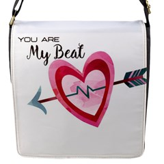 You Are My Beat / Pink And Teal Hearts Pattern (white)  Flap Messenger Bag (s) by FashionFling
