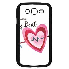 You Are My Beat / Pink And Teal Hearts Pattern (white)  Samsung Galaxy Grand Duos I9082 Case (black) by FashionFling