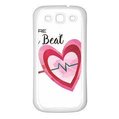 You Are My Beat / Pink And Teal Hearts Pattern (white)  Samsung Galaxy S3 Back Case (white) by FashionFling