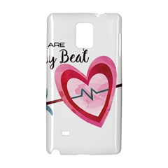 You Are My Beat / Pink And Teal Hearts Pattern (white)  Samsung Galaxy Note 4 Hardshell Case by FashionFling