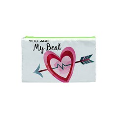 You Are My Beat / Pink And Teal Hearts Pattern (white)  Cosmetic Bag (xs) by FashionFling