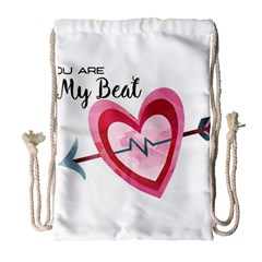 You Are My Beat / Pink And Teal Hearts Pattern (white)  Drawstring Bag (large) by FashionFling