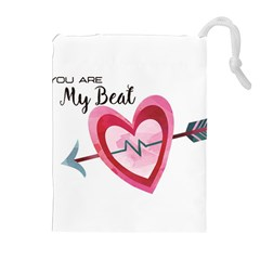 You Are My Beat / Pink And Teal Hearts Pattern (white)  Drawstring Pouches (extra Large) by FashionFling