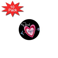 You Are My Beat / Pink And Teal Hearts Pattern (black)  1  Mini Magnet (10 Pack)  by FashionFling