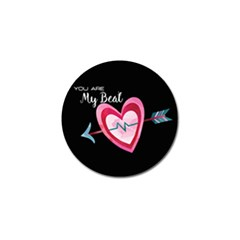 You Are My Beat / Pink And Teal Hearts Pattern (black)  Golf Ball Marker (4 Pack) by FashionFling