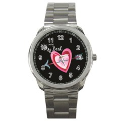You Are My Beat / Pink And Teal Hearts Pattern (black)  Sport Metal Watch by FashionFling