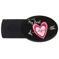 You Are My Beat / Pink And Teal Hearts Pattern (black)  Usb Flash Drive Oval (4 Gb) by FashionFling