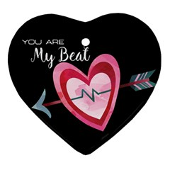 You Are My Beat / Pink And Teal Hearts Pattern (black)  Heart Ornament (two Sides) by FashionFling
