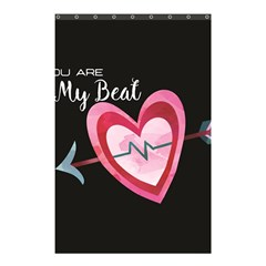 You Are My Beat / Pink And Teal Hearts Pattern (black)  Shower Curtain 48  X 72  (small)  by FashionFling