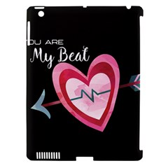 You Are My Beat / Pink And Teal Hearts Pattern (black)  Apple Ipad 3/4 Hardshell Case (compatible With Smart Cover) by FashionFling