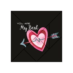 You Are My Beat / Pink And Teal Hearts Pattern (black)  Acrylic Tangram Puzzle (4  X 4 ) by FashionFling
