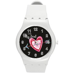 You Are My Beat / Pink And Teal Hearts Pattern (black)  Round Plastic Sport Watch (m) by FashionFling