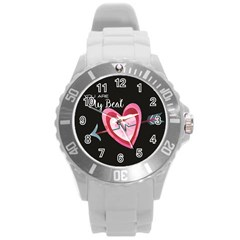 You Are My Beat / Pink And Teal Hearts Pattern (black)  Round Plastic Sport Watch (l) by FashionFling