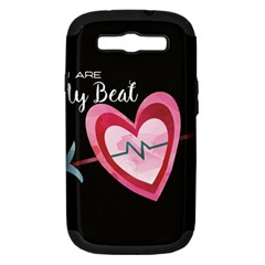You Are My Beat / Pink And Teal Hearts Pattern (black)  Samsung Galaxy S Iii Hardshell Case (pc+silicone) by FashionFling