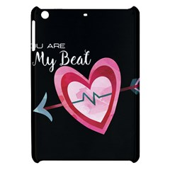 You Are My Beat / Pink And Teal Hearts Pattern (black)  Apple Ipad Mini Hardshell Case by FashionFling