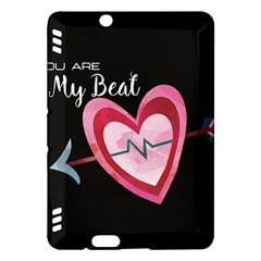 You Are My Beat / Pink And Teal Hearts Pattern (black)  Kindle Fire Hdx Hardshell Case by FashionFling