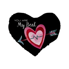 You Are My Beat / Pink And Teal Hearts Pattern (black)  Standard 16  Premium Flano Heart Shape Cushions by FashionFling