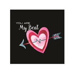 You Are My Beat / Pink And Teal Hearts Pattern (black)  Small Satin Scarf (square) by FashionFling