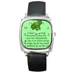 Little Frog Poem Square Metal Watch by athenastemple