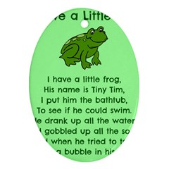 Little Frog Poem Oval Ornament (two Sides)