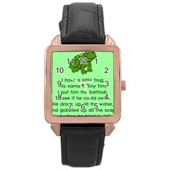 Little Frog Poem Rose Gold Leather Watch  by athenastemple