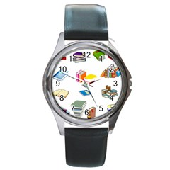 Bookworm Pattern Round Metal Watch by athenastemple