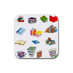 Bookworm Pattern Rubber Square Coaster (4 Pack)  by athenastemple