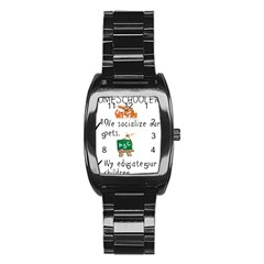 Homeschoolers Socialize Stainless Steel Barrel Watch by athenastemple