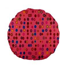 Circles Abstract Circle Colors Standard 15  Premium Flano Round Cushions by Nexatart