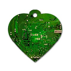 Circuit Board Dog Tag Heart (one Side) by Nexatart