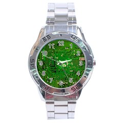 Circuit Board Stainless Steel Analogue Watch by Nexatart
