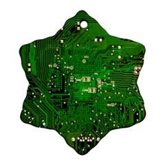 Circuit Board Ornament (snowflake) by Nexatart