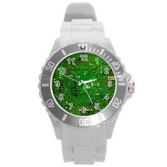 Circuit Board Round Plastic Sport Watch (l) by Nexatart