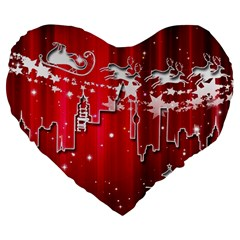 City Nicholas Reindeer View Large 19  Premium Heart Shape Cushions