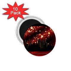 City Silhouette Christmas Star 1 75  Magnets (10 Pack)  by Nexatart