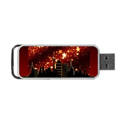 City Silhouette Christmas Star Portable Usb Flash (one Side)
