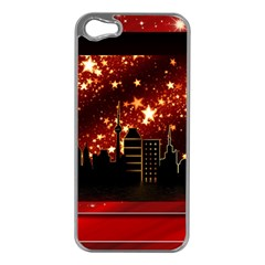 City Silhouette Christmas Star Apple Iphone 5 Case (silver) by Nexatart