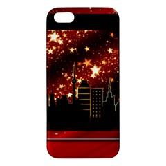 City Silhouette Christmas Star Apple Iphone 5 Premium Hardshell Case