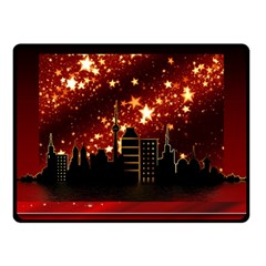 City Silhouette Christmas Star Double Sided Fleece Blanket (small)