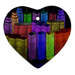 City Metropolis Sea Of Light Ornament (heart)