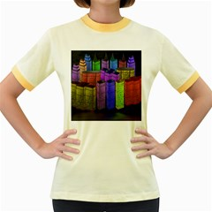 City Metropolis Sea Of Light Women s Fitted Ringer T Shirts