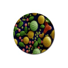 Colorized Pollen Macro View Magnet 3  (round) by Nexatart