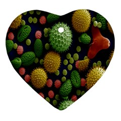 Colorized Pollen Macro View Heart Ornament (two Sides) by Nexatart