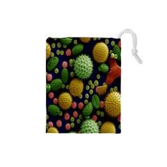 Colorized Pollen Macro View Drawstring Pouches (small)  by Nexatart