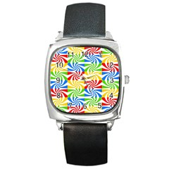 Colorful Abstract Creative Square Metal Watch