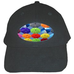 Color Umbrella Blue Sky Red Pink Grey And Green Folding Umbrella Painting Black Cap