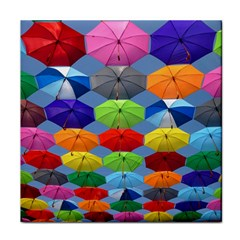 Color Umbrella Blue Sky Red Pink Grey And Green Folding Umbrella Painting Tile Coasters