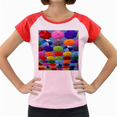 Color Umbrella Blue Sky Red Pink Grey And Green Folding Umbrella Painting Women s Cap Sleeve T Shirt