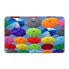 Color Umbrella Blue Sky Red Pink Grey And Green Folding Umbrella Painting Magnet (rectangular) by Nexatart
